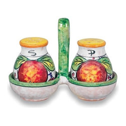 Ceramic - Umbria - Italian Fruit Salt and Pepper Set with Tray - Umbria - Italian Fruit Salt and Pepper Set with Tray