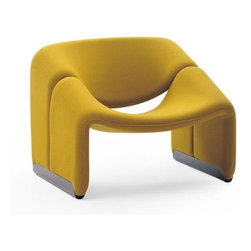 """Artifort - F598 Groovy Chair by Pierre Paulin - Features:  -Finish base anodized aluminum . -Available in a stunning array of fabric and leather upholstery options. Care & Maintenance: Please view the Artifort Upholstery Guide to learn more about the fabric and leather upholstery options. Dimensions:  -Overall Dimensions: 24.57"""" H x 33.15"""" W x 26.52"""" D. -Seat Height: 14.04"""". Note: Schematics pictured in centimeters Order with Confidence: -Artifort innovative designs are guaranteed to feature beauty, functionality and form to create a unity that is favorably received throughout the world.. -Should you discover shortly after receiving your F598 Groovy Chair that parts are damaged, please call us immediately and we will be happy to send you replacement parts as soon as possible and at no additional cost.."""