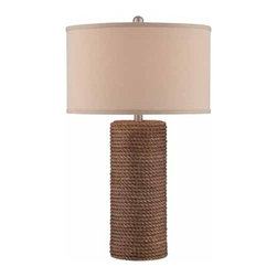 Lite Source - Lite Source Rhoslyn Traditional Table Lamp XSL-35522 - Thick natural rope wrapped body.