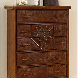 Hospitality Rattan - Hospitality Rattan Cancun Palm Five Drawer Chest - TC Antique Multicolor - 401-5 - Shop for Dressers from Hayneedle.com! Part of the Cancun Palm bedroom collection Hospitality Rattan Cancun Palm Five Drawer Chest - TC Antique stands out because of its fine rattan and herringbone wicker weaving. It also features a fiber palm tree castings design to lend a tropical feel to any bedroom. The woven leather bindings used throughout the Cancun Palm chest ensures its durability and quality for many years of use. In addition metal glides are used on all five drawers. No assembly required. Dimensions: 36W x 22D x 48H inches.About Hospitality RattanHospitality Rattan has been a leading manufacturer and distributor of contract quality rattan wicker and bamboo furnishings since 2000. The company's product lines have become dominant in the Casual Rattan Wicker and Outdoor Markets because of their quality construction variety and attractive design. Designed for buyers who appreciate upscale furniture with a tropical feel Hospitality Rattan offers a range of indoor and outdoor collections featuring all-aluminum frames woven with Viro or Rehau synthetic wicker fiber that will not fade or crack when subjected to the elements. Hospitality Rattan furniture is manufactured to hospitality specifications and quality standards which exceed the standards for residential use.Hospitality Rattan's Environmental CommitmentHospitality Rattan is continually looking for ways to limit their impact on the environment and is always trying to use the most environmentally friendly manufacturing techniques and materials possible. The company manufactures the highest quality furniture following sound and responsible environmental policies with minimal impact on natural resources. Hospitality Rattan is also committed to achieving environmental best practices throughout its activity whenever this is practical and takes responsibility for the development and implementation of environmen