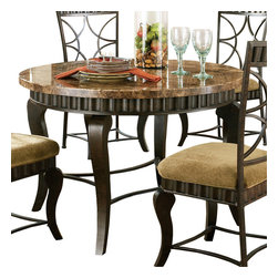 Steve Silver Furniture - Steve Silver Hamlyn Round Dining Table with Marble Top and Metal Base - Compliment any kitchen/dining setting with the Hamlyn marble-Top Dining table. Wavy panels and decorative curved legs in a pewter finish accent the earth tone inspired marble top .