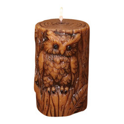 Deco Glow - Owl Sculpted Pillar Candle, Set of 3 - Beautiful  rustic  sculpted  candle  shaped  with  the  image  of  an  owl.  Package  includes  3  owl  pillar  candles.  Includes  3  candles  in  the  pack.  A  great  gift  for  a  wildlife  lover.