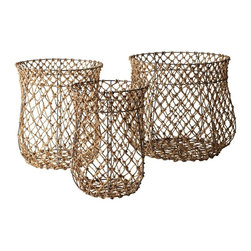 Lazy Susan - Lazy Susan Set of 3 Nested Fisherman Rope Baskets X-200419 - Made from natural rope and metal