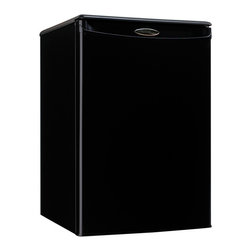 Danby - Compact All Refrigerator - Black - You can add a touch of class to any room in your home or office with this striking compact refrigerator by Danby. It comes in at a height of just over two feet and features 2.6 cu. ft. (73 L) of cooling capacity. It's the ideal unit for floors and countertops, making it the perfect fridge for spaces such as dormitory rooms and wet bars. Finding storage room for tall bottles is no problem at all and the third-generation CanStor beverage dispenser is second to none. Accessories can easily be stored on the scratch-resistant worktop and there's no need to defrost the unit as it's done automatically. This splendid appliance also comes with a mechanical thermostat and offers 2.5 strong wire shelves for maximum storage versatility. Both left and right-handed users will love the convenient reversible door swing and the integrated door handle.