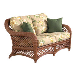 WickerParadise - Brown Wicker Furniture: Lanai Loveseat - When you need to get away from the world, just kick back with your cutie on this cozy, relaxed loveseat. With its fresh, tropical print and breezy, open-weave brown wicker frame, it's got private Hawaiian island written all over it.