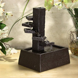 Outdoor Classics - Water Pouring on Steps Tabletop Fountain - Accessory piece for a fireplace mantel or rustic living room.  Could also be a nice piece for a kitchen counter.