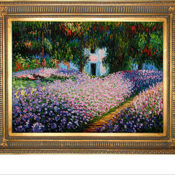 "overstockArt.com - Monet - Artist's Garden at Giverny Oil Painting - 30"" x 40"" Oil Painting On Canvas Originally painted in 1900 by French Impressionistic painter Claude Monet, Artist's Garden at Giverny depicts his beautiful botanical garden and the reflections of the flowers on the water. Originally the artist rented the property and was finally able to buy it after experiencing an influx of income when his paintings started selling. When Monet eventually purchased this estate, he focused on redesigning the gardens that already existed. Enjoy a gorgeous recreation of Artist's Garden at Giverny when you bring this hand painted oil painting into your home. One of Monet's most famous works, Monet used beautiful color combinations to depict his flowers along a simple dirt path that leads to a pond. Choose from one of our many museum-quality frames that will complement the beauty of this painting."