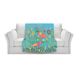 DiaNoche Designs - Throw Blanket Fleece - Sascalia Bohemian Birds - Original Artwork printed to an ultra soft fleece Blanket for a unique look and feel of your living room couch or bedroom space.  DiaNoche Designs uses images from artists all over the world to create Illuminated art, Canvas Art, Sheets, Pillows, Duvets, Blankets and many other items that you can print to.  Every purchase supports an artist!