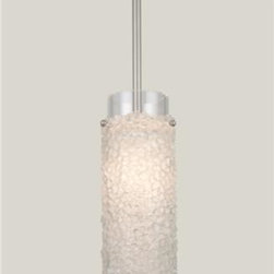 Lightspann - Rain Mosaic Recycled Glass Pendant Light - The attractive and unique Rain Mosaic pendant light offers cast glass pebbles formed over a glass cylinder to make a beautiful frosty white light. It is suspended from a metal stem and canopy.         Accepts a standard incandescent, candelabra base, 60 watt bulb.          Handrafted in the USA!  This fixture usually ships in 8-10 weeks.           Standard Metallic Metal Finishes: (image 3 - included in price)  Copper Leaf, Flat Bronze, Matte Black, Seaside Silver, Metallic Beige Silver, Statuary Bronze          Premium Metal Finishes: (image 4 - $333 upcharge)  Dark Bronze, Dark Nickel, Light Bronze, Light Nickel (shown)      Please note that the price listed pertains to a fixture that will appear very similar to the light shown in the featured photograph and as outlined in the accompanying description. Virtually all of our artisan crafted fixtures can be customized regarding size, shape, and / or color(s). Please call for details.
