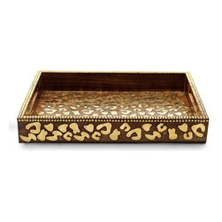 Cheetah Wood Tray - Rich brown wood boasts a bold gold cheetah pattern that is dramatic without being overly ornate. The Cheetah Wood Tray makes a unique addition to a side table, display shelf, or sideboard when placed amidst an eclectic or transitional decor. The cheetah pattern on the outside and inside of the bowl is complemented by gold on the rim.