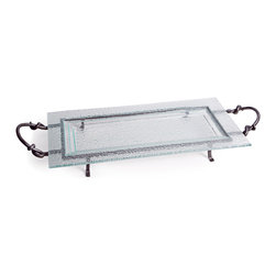 Danya B. - Large Square Textured Glass Plate on Raised Iron Stand - Stately, eco-chic serveware just got an upgrade with this sophisticated recycled glass tray. It sits elegantly on a rustic iron stand which easily detaches for cleaning by hand or in your dishwasher.