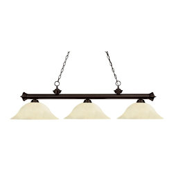 Z-Lite - Z-Lite Riviera Kitchen Island / Billiard X-61MG-ZRB3-002 - Elegant and traditional best describes this beautiful three light fixture. Finished in oil rubbed bronze and paired with golden mottle shades, this three light fixture would be equally at home in the game room, or anywhere else in the house needing a touch of timeless charm. 72 inches of chain per side is included to ensure a perfect hanging height.