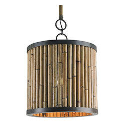 Currey and Company - Averett Pendant - As it's name suggests, this Natural woven basket style pendant, resembles a beehive, as pictured in storybooks. The combination of Bronze finishing and Natural woven grass lend a pleasant contrast to the Beehive's aesthetic.