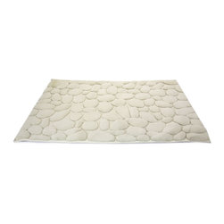 Pebbles Bath Mat - Stone - Bring a little bit of the outdoors in with this luxe nature-inspired bath mat. Its lush pile is trimmed into the shapes of water-worn pebbles, so it's super absorbent and feels great under your feet too.