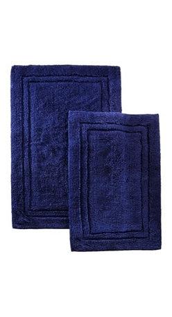 Combed Cotton 2 Piece Bath Rug Set - Navy Blue - Cotton Bath Rug Set