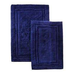Combed Cotton 2 Piece Bath Rug Set - Navy Blue - Cotton Bath Rug Set