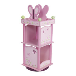 "Levels of Discovery - Sugar Plum Revolving Bookcase - Butterfly and floral motif in shades of plum and pink with green and ivory accents  Revolves for easy access 10"" and 12"" shelves hold her favorite storybooks Butterfly bookendsRevolves for easy access. Two shelves. Butterfly bookends. . All products have instructions included for assembly"