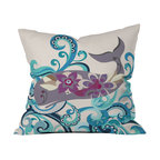 DENY Designs - Valentina Ramos Whale Blossom Throw Pillow - Wanna transform a serious room into a fun, inviting space? Looking to complete a room full of solids with a unique print? Need to add a pop of color to your dull, lackluster space? Accomplish all of the above with one simple, yet powerful home accessory we like to call the DENY throw pillow collection! Custom printed in the USA for every order.