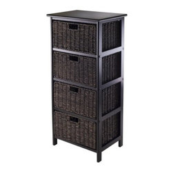 Winsome Wood - Omaha Storage Rack with 4 Foldable Baskets - Our Omaha Storage Rack is simple with plenty of storage and comes with 4 foldable baskets that are made of corn husk and finished in black color. Rack is made with combination of solid and composite wood.
