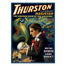 Thurston, Talking to Skulls Print - Thurston the great magician the wonder show of the universe. Published as a color lithograph at 100 x 78 cm. By the Strobridge Litho. Co., of Cincinnati ; New York : in 1915.