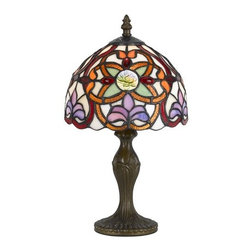 Cal Lighting - Cal Lighting BO-2381AC Tiffany 1 Light Pedestal Base Table Lamp - Features: