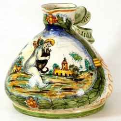 Artistica - Hand Made in Italy - Majolica: Twisted Handle Brocca - Putto and Landscape Design - Majolica Collection: