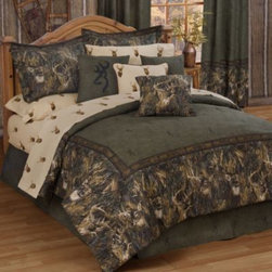 Kimlor Mills - Browning Whitetails Comforter Set - Create a rustic cabin look in your bedroom with the Browning Whitetails Comforter Set. With a evergreen background, Browning buck logo design, and deer image border; the plush bedding is perfect for a devoted hunter.
