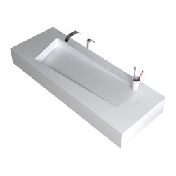 ADM - ADM Solid Surface Stone Resin Wall Hung Sink, Matte White - White Wall Hung / Countertop Solid Surface Stone Resin Sink