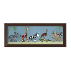 "Doodlefish - Safari Parade in Brown Frame - This artwork is a mounted Giclee of safari animals on parade in your choice of frames or you can choose the art as a stretched canvas. The artwork is 36"" x 12"" as a stretched canvas.  With the frame, the finished size is approximately 40"" x 14""."