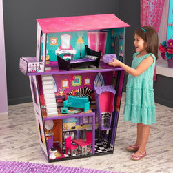 KidKraft - KidKraft Monster Manor Dollhouse with Furniture - 65848 - Shop for Dollhouses and Dollhouse Furnishings from Hayneedle.com! Girls will shriek and scream with delight when they have the KidKraft Monster Manor Dollhouse with Furniture to play with. Standing nearly 4 feet tall this three-story dollhouse is designed for use with 12-inch fashion dolls. Perfect for those monster-themed high-school-age dolls that just don't look at home in a regular doll house. Complete with elaborately detailed backdrops and floors as well as a working elevator and sturdy staircase this house is fun from top to bottom. It's complete with eight pieces of furniture too. The top floor or master suite includes a funky bed (with linens) and a fuzzy beanbag chairs for the dolls to hang out. There's even an open-air patio up here! Talk about spookily swanky. The living area is on the second floor where dolls have a vibrantly colored sofa to sit on and an ottoman for kicking up their feet. The bathroom (with toilet) and the kitchen are on the first floor. Dolls can enjoy breakfast for two at the hot pink dinette set. About KidKraftKidKraft is a leading creator manufacturer and distributor of children's furniture toy gift and room accessory items. KidKraft's headquarters in Dallas Texas serves as the nerve center for the company's design operations and distribution networks. With the company mission emphasizing quality design dependability and competitive pricing KidKraft has consistently experienced double-digit growth. It's a name parents can trust for high-quality safe innovative children's toys and furniture.