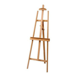 Alvin and Company - Heritage Lyre-Style Wood Easel - 3 Legged easel designed to be stable and sturdy. Adjustable canvas supports on top and bottom. Accommodate canvases up to 51 in. high. Rear leg adjusts to control angle. Folds flat for storage. Tilt angle adjustment. Constructed of select oiled Elmwood. Assembled: 21.5 in. L x 68 in. W x 27 in. H