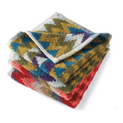 Grandin Road - David Bromstad Set of Two Chevron Washcloths - Choose from two chevron patterns, Avocado or Rose. Expertly woven from low-lint 100% cotton. Machine wash; do not bleach. Bring a splash of color to the bath, in true David Bromstad style. Plush, absorbent, low-lint, 100% cotton comes to life in bold and vibrant chevron patterns.  .  .  . Imported.