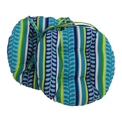 Blazing Needles - Blazing Needles 16x16-inch Round Patterned Outdoor Chair Cushions (Set of 2) - Add a touch of style and comfort to outdoor furnishings with the Blazing Needles Set of Two 16 x 16-inch Round Outdoor Chair Cushions. Available in ten patterns,these cushions feature a classic tufted cushion style with ties for easy fastening.