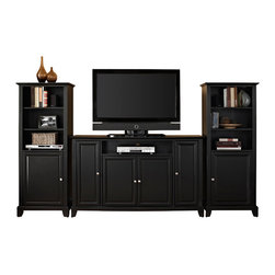 """Crosley - Newport 60"""" TV Stand and Two 60"""" Audio Piers in Black Finish - Our 60"""" TV stand and ..."""