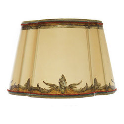 Dilusso Antique Custom Lamps - Custom Round Shade w/ Cut Corners, Medium - This Round Custom shade with cut corners is designed with antiqued silver leaf. With custom colors and decorative custom colored trims.