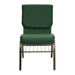 "Flash Furniture - Hercules 18.5"" Wide Green Patterned Church Chair - This Hercules Series Church Chair will add elegance and class to any Church, Hotel, Banquet Room or Conference setting. If you are looking for a chair with comfort and style that is easy to move and stores away with ease, then look no further. This built to last chair has a 16-gauge steel frame that has been tested to hold 600 lbs. This church chair features double support bracing, ganging clamps, a cushion that graduates to a 4.25 in.  thick waterfall edge and plastic floor glides to protect non-carpeted floors. Our church chair is manufactured by one of the most reputable stack chair manufacturers in the industry, you can be assured of the quality of this chair offered to you."