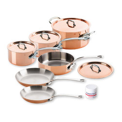 Mauviel M'Heritage M'150s 10 Piece Copper Cookware Set - The Mauviel M'Heritage 10 piece cookware set allows you to cook with unsurpassed heat conductivity and control thanks to it's 90% copper  10% stainless steel construction.  The M'150s collection features classic cast iron handles  stainless rivets  a polished copper exterior  and an 18/10 stainless interior.  The cookware has a thickness of 1.5 mm  and the copper exterior allows for superior heat conduction and control.  The M'Heritage collection represents the total experience and heritage of Mauviel 1830.  Set includes      1.9 qt Saucepan (6410.17)   1.9 qt Saucepan Lid   3.2 qt Saute Pan (6411.25)   3.2 qt Saute Pan Lid   3.6 qt Saucepan (6410.21)   3.6 qt Saucepan Lid   8.6 in Fry pan (6413.22)   10.2 in Fry pan   6.4 qt Stew Pan (6431.25)   6.4 Stew Pan Lid   Copperbrill Cleaner     Product Features      Bilaminated copper stainless steel - 90% copper and 10% 18/10 stainless steel   Copper cookware heats more evenly and much faster than other metals  and offers superior cooking control   1.5 mm thickness   18/10 stainless steel interior preserves the taste and nutritional qualities of foods and is easy to clean   Mauviel M'150s cookware can be used on gas  electric  halogen stovetops  and in the oven. It can also be used on induction stovetops with Mauviel's induction stove top interface disc (sold separately)   Mauviel cookware is guaranteed for life against any manufacturing defects (Warranty not valid for commercial use)   Made in France