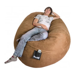 None - Oval 6-foot Earth Brown Microfiber and Foam Bean Bag - Give your home a new look and feel with this awesome bean bag. This chair can be laid down like a bed or propped up like a chair and features Durafoam blend fill.