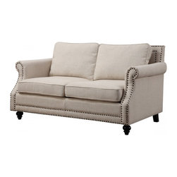 TOV Furniture - Camden Beige Linen Loveseat - Camden Loveseat has solid birch frame, foam cushioning and linen upholstery. Bronze hand-applied nail heads and black wooden legs with non-marking feet accentuate the piece. All cushions are removable.