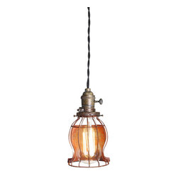 "The Pepin Shop - Cage Filament 4"" Pendant Age Steel - Original Lamps from 20th-century industrial lighting."