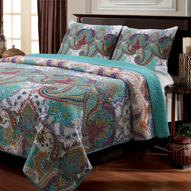 None - Nirvana Paisley Cotton 3-piece Quilt Set - An enchanting paisley motif adds exotic style to the ethereal Nirvana quilt set. Crafted with 100-percent cotton,this soft quilt and matching shams feature an eye-catching turquoise reverse and are fully machine washable.