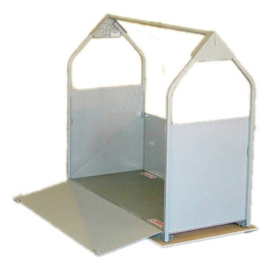 Versalift - PE-24 Platform Enclosure - The Platform Enclosure includes two fixed end walls and two hinged ramp doors. The doors latch in the upright position to contain objects on the platform during lifting. When the doors are lowered on either side, they become loading ramps for the lifting platform.
