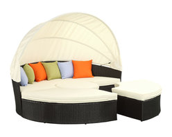 East End Imports - Quest Canopy Daybed in Espresso White - Complete your circle with four distinct wedges of joy. Quest pieces together the puzzle of experience with a fun and versatile daybed. Adjourn for your daytime repast either by yourself or with others. Like offering a friend a warm slice of pie, Quests pieces easily separate to serve the seating needs of others. The set also comes equipped with a sun canopy to shield your leisure time with the pleasantness of shade. Courageously engaging, this is a daybed that reveals the hidden art of collaboration and communal engagement. Quest is comprised of a UV resistant rattan base, a powder-coated aluminum frame and all-weather cushions. The set is perfect for cafes, restaurants, pool areas, hotels, resorts and other outdoor spaces.