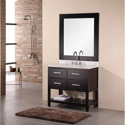 """Design Element - Design Element London 36"""" Bathroom Vanity with Open Bottom - Espresso - The London 36"""" Double Sink Vanity Cabinet, constructed with solid wood, provides a contemporary design perfect for any bathroom remodel. The ample storage in this free-standing vanity includes two flip-down shelf and two fully functional drawers each accented with brushed nickel hardware as well as an open shelf at the base of the cabinet. This vanity cabinet is available in an espresso or white finish. You have the option to add a White Carrera Marble Countertop with white porcelain sink, pop-up drain and matching mirror to make your own complete bathroom vanity set. Features Solid wood cabinet Four drawers, satin nickel finish hardware. Available as a Vanity Set including: White Carrera Marble Countertop, White Porcelain Sink, Pop up Drain, Matching Mirror Faucet(s) not included Manufacturer provides 1 year warrantyHow to handle your counterManualView Spec Sheet Natural stone like marble and granite, while otherwise durable, are vulnerable to staining from hair dye, ink, tea, coffee, oily materials such as hand cream or milk, and can be etched by acidic substances such as alcohol and soft drinks. Please protect your countertop and/or sink by avoiding contact with these substances. For more information, please review our """"Marble & Granite Care"""" guide."""
