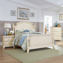Homelegance - Homelegance Inglewood II 3 Piece Poster Bedroom Set in Antique White - Sophistication merges with elegant lines and classic shapes in the Inglewood II Collection. The boldly designed lines of the traditional breakfront posts of the panel bed lend an air of casual elegance. Wood and metal drawer pulls accent the traditional case pieces. Inglewood II Collection is presented in an antique white finish with cherry finish case goods' top. - 1402KW-PPB-3-SET.  Product features: Elegant lines and classic shapes ; Boldly designed lines of the traditional breakfront posts ; Four Poster Panel Bed; Antique White finish; Available in California King, Eastern King and Queen sizes. Product includes: Poster Bed (1); Nightstand (1); Chest (1). 3 Piece Poster Bedroom Set in Antique White belongs to Inglewood II Collection by Homelegance.