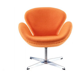 Arne Jacobsen Style Swan Chair in Orange - In every sense of the word the Swan Chair is a true classic that will never go out of style. The chair was designed in 1958 and was developed for the lobby and reception areas at the Royal Hotel in Copenhagen, and Poly+Bark's Replica is of the highest quality.