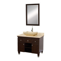 Wyndham Collection - 36 in. Eco-Friendly 2-Door Bathroom Vanity - Includes natural stone counter, backsplash, one vessel sink and matching mirror. Faucets not included. Engineered to prevent warping and last a lifetime. Highly water-resistant low V.O.C. finish. 12 stage wood preparation, sanding, painting and finishing process. Floor standing vanity. Two deep doweled drawers. Fully extending bottom mount drawer slides. Soft close concealed door hinges. Single hole faucet mount. Plenty of storage space. Brushed steel leg accents. Metal hardware with brushed chrome finish. Ivory marble top. Ivory marble sink. Made from zero emissions solid oak hardwood. Espresso finish. Vanity: 36 in. W x 22.5 in. D x 36 in. H. Mirror: 24.25 in. W x 36.25 in. HCutting edge, unique transitional styling. A bridge between traditional and modern design, and part of the Wyndham Collection Designer Series by Christopher Grubb, the Premiere Single Vanity is at home in almost every bathroom decor, resulting in a timeless piece of bathroom furniture.