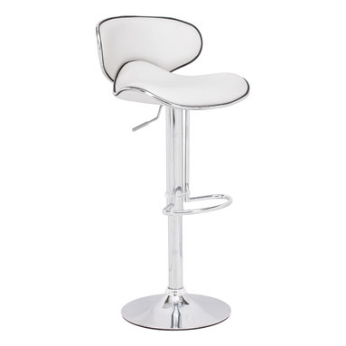 ZUO MODERN - Fly Barstool White - With high back and plush seat, the Fly has the most comfort for a barstool. It has a leatherette seat, a hydraulic piston, and an chrome plated foot rest and steel base.