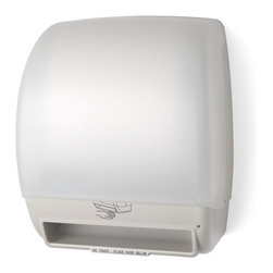 "Palmer Fixture - Electra - Automatic Touchfree Roll Towel Dispenser, White - The Electra Automatic Touchfree Roll Towel Dispenser with the Translucent White cover and beige back is created for maximum flexibility and cost reduction. This universal dispenser is automatic, hygienic, and enables hands-free operation. Dispenser holds any universal 8"" x 8"" roll towel and 2 3/4"" stub roll with a 1 1/2"" to 2"" core. Paper is fully protected until user is ready preventing cross-contamination--no paper hangs out. There is an easy to load auto-transfer system that prevents stub roll waste. It operates on 4 D-sized alkaline batteries with the longest battery life in the industry-up to 72,000 cycles. There is a low battery indicator light and the translucent cover allows for a view of the paper supply. Unit features adjustable settings for optimal paper usage control. The Select Paper Savings mode allows adjustment of second sheet length making it shorter by 25%, 0%, 12% than the initial dispense when the second dispense is within 3 seconds of the initial dispense. The Set Time Delay mode can be set for 3 seconds, 2 seconds, or 1 second. The Sheet Length mode can be set for 15"", 12"", 9"" of paper.; Dimensions: 11 1/4"" L x 9 1/4"" W x 15"" H; Includes 1 key, type 1"