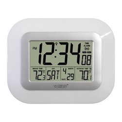 La Crosse Technology - La Crosse Technology WS-811561-W Digital Wall Clock w/Indoor/Outdoor Temperature - -Self-setting atomic time and date